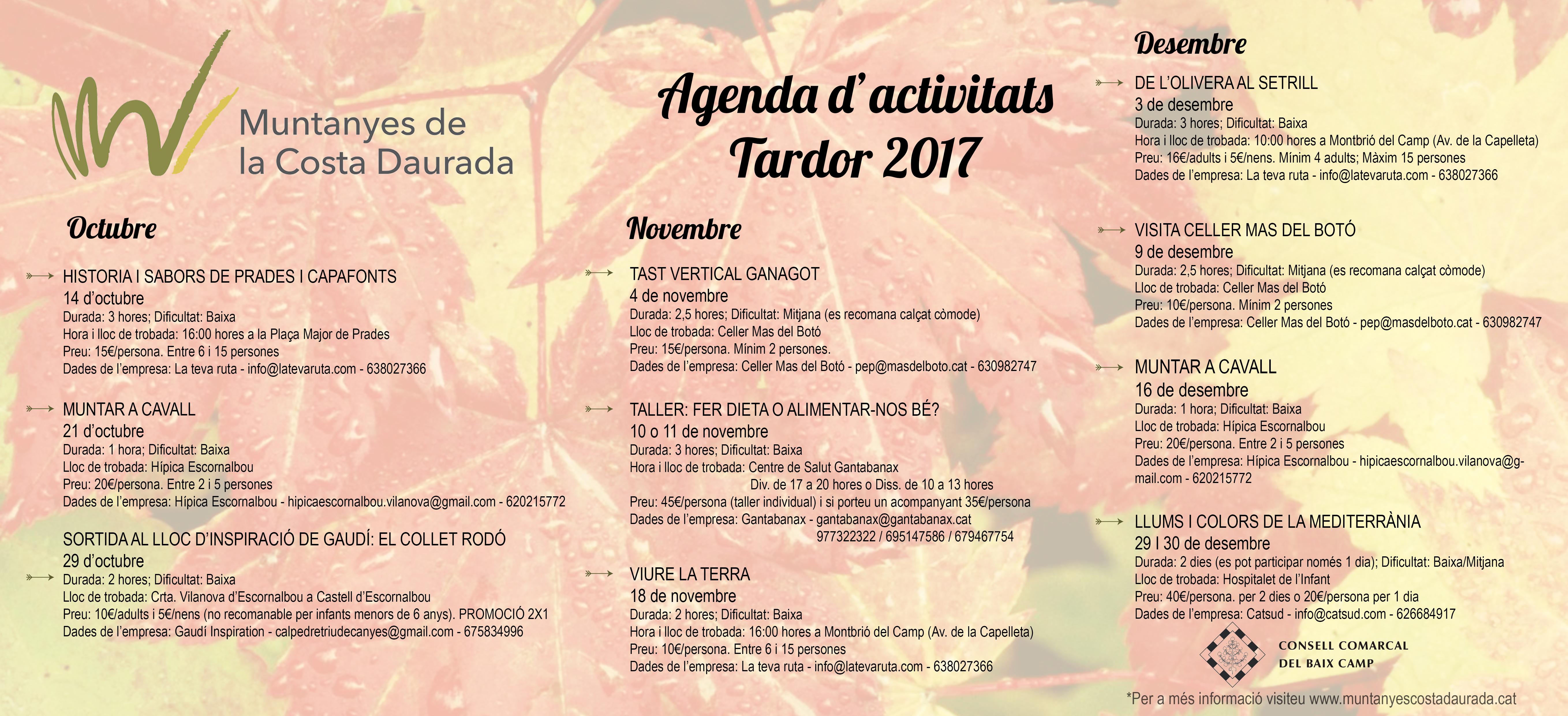 Nuevo catálogo de actividades de otoño del Baix Camp